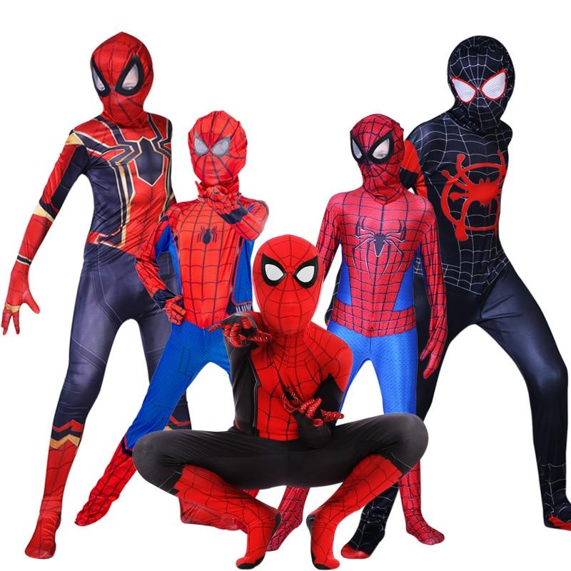 Kids Spider Man Far From Home Peter Parker Cosplay Costume Zentai Spiderman Superhero Bodysuit Suit Jumpsuits Halloween Costume