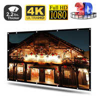 120 Inches New No Creases Black-sided Foldable HD Movie Projector Screen for projector 16:9 Background Cloth White