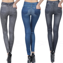 Spring Autumn Fashion Jeans Denim Design Leggings Pants Ladies Imitation Jeans Women's Plus Size Leggings Black/Gray/Blue HX1106