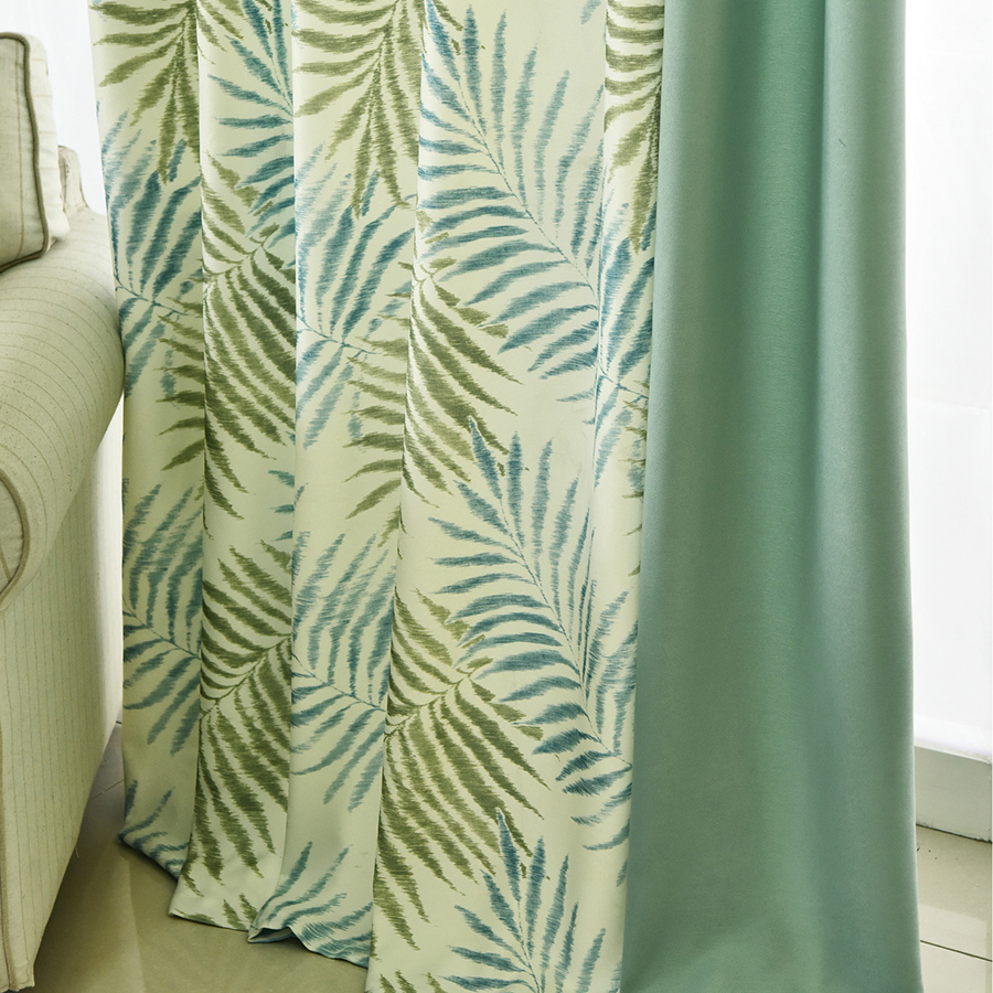 Tropical Fern Leaf Printed Curtains for Living Room Window Treatments Fancy Curtain Tulle for The Bedroom Drapes Decoration