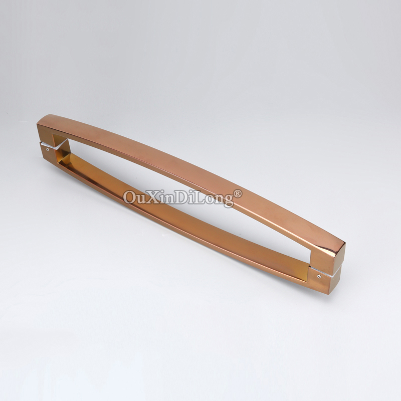 Brand New 2PCS Stainless Steel Frameless Shower Sliding Door Handles Glass Door Pull / Push Handles TOWEL BAR,Rose Gold