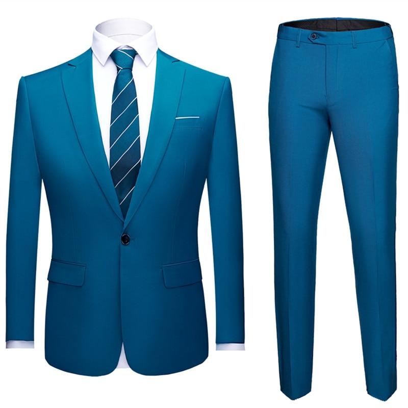 Men's Suit Business High-end Wedding Party Professional Groom Suit 2 Sets (coat + Pants) Multi-color Big Size Blazer S-6XL 2019