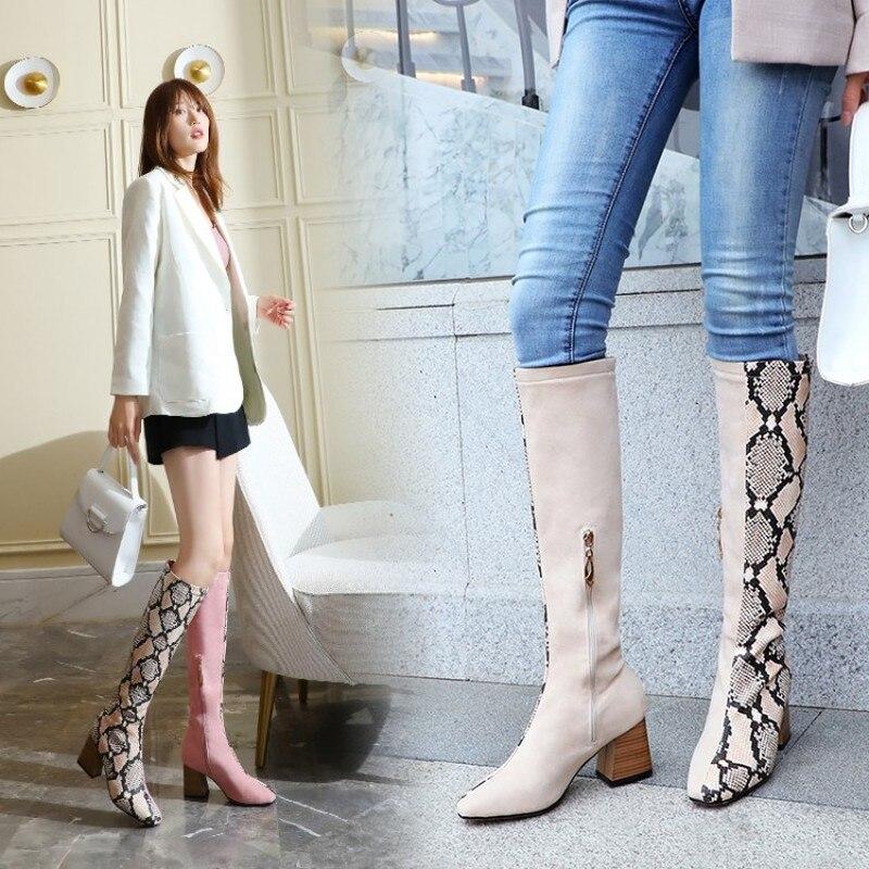women knee high boots chunky heels autumn winter warm shoes woman  girls gladiator booties wxz141