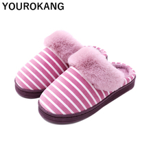 Winter Women Home Slippers Furry Soft Warm Plush Shoes Unisex For Lovers Striped Female Flip Flops Indoor Floor Slippers New fayuekey sweet spring summer autumn winter home fashion plush slippers women indoor floor flip flops for girls gift flat shoes