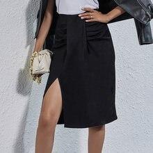 Женские черные Разделение юбка с высокой талией Миди юбки в