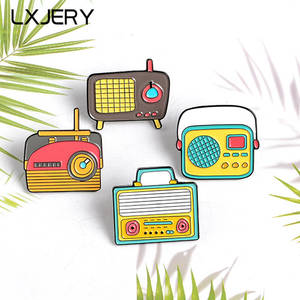 LXJERY Cartoon Lovely Radio Enamel Pin Badge On Backpack Cute Brooch Pins For Clothes Broche For Women Girls Gift