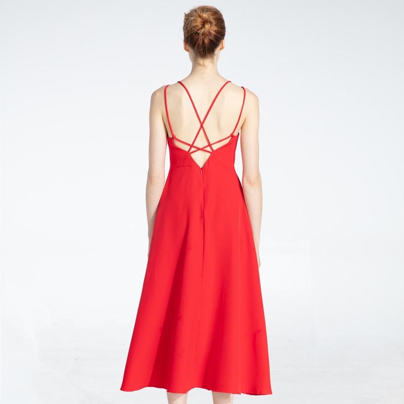 Cross Spaghetti Strap Open Back Solid Beach Ankle-Length Dress 2