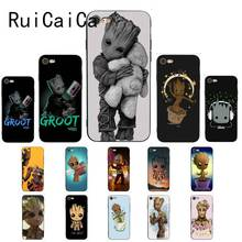 Ruicaica Guardians of the for Galaxy Marvel the Avengers Groot Black Phone Case for iPhone 5 Sx 6 7 7plus 8 8Plus X XS MAX XR 10 marvel universe guardians of the galaxy