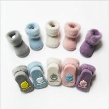 Нескользящие носки-тапочки для малышей зимние толстые махровые носки для малышей милые теплые хлопковые носки для новорожденных мальчиков и девочек Нескользящие носки-Тапочки
