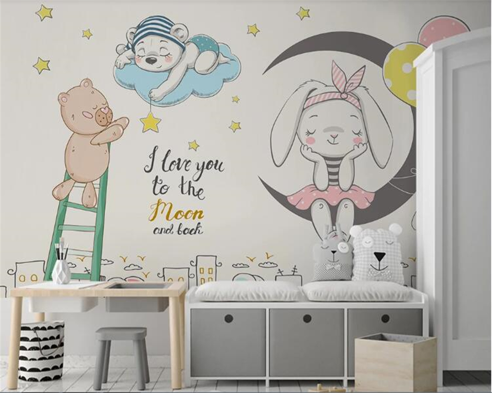 Beibehang Wall Papers Home Decor Nordic Minimalist Hand Drawn Cartoon Animal Children's Room Wallpaper Background Wall Painting