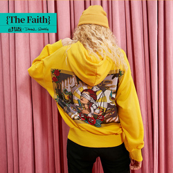 ELFSACK, желтые, одноцветные, с буквенным принтом, минималистичные, женские толстовки, 2019, зимние, цветочные, с заниженной спинкой на плече, офис...