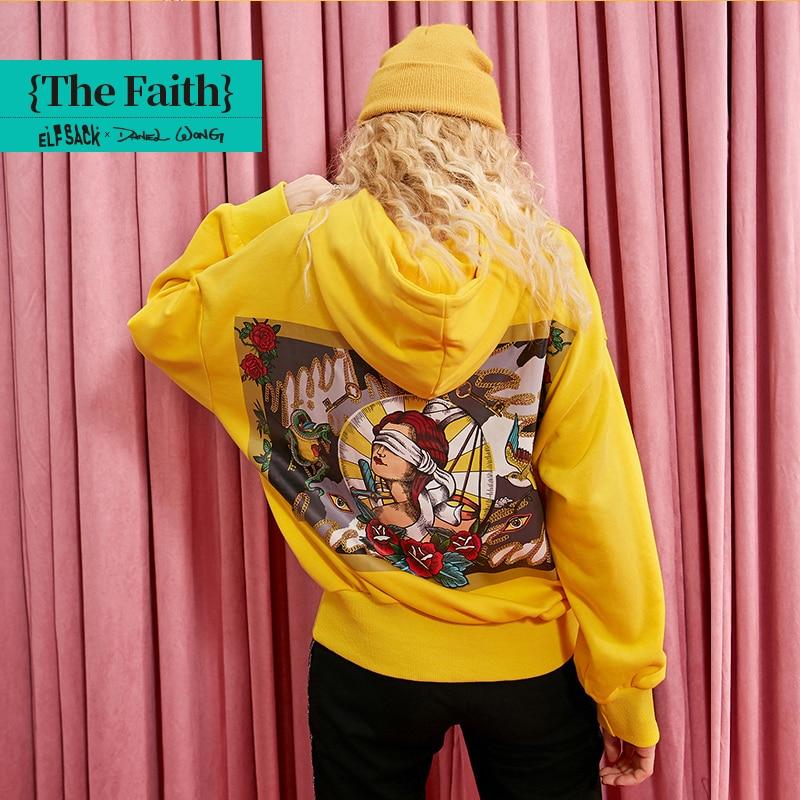 ELFSACK Yellow Solid Letter Print Minimalist Women Hoodies 2019 Winter Floral Back Drop Shoulder Office Ladies Basic Sweatshirts