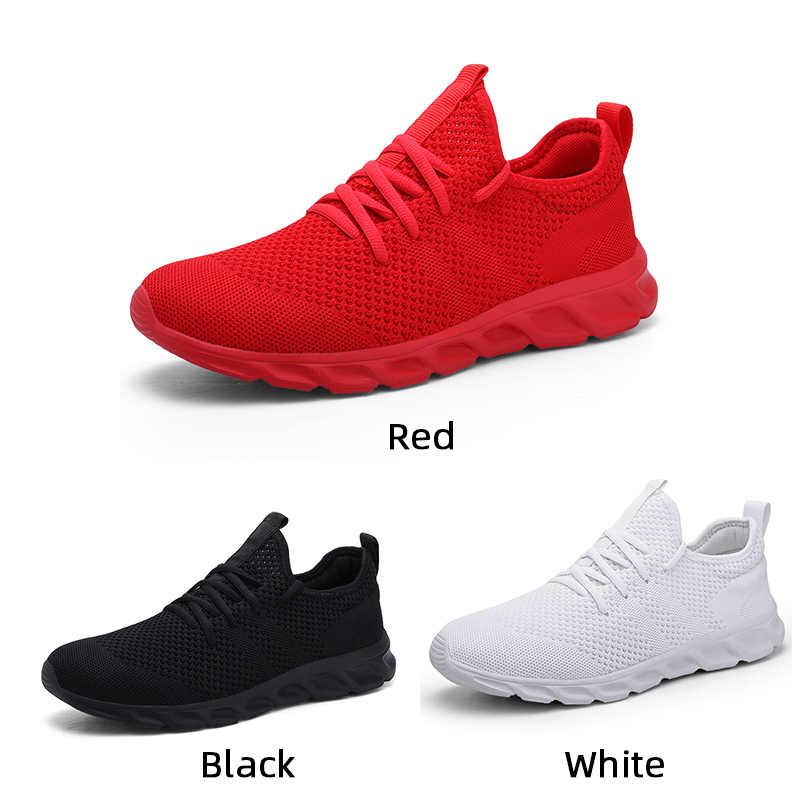 Flyknit erkek ayakkabısı ışık spor ayakkabı erkekler nefes koşu ayakkabıları erkekler için kauçuk Tenis Masculino Adulto artı 35 46 48 DropShipping
