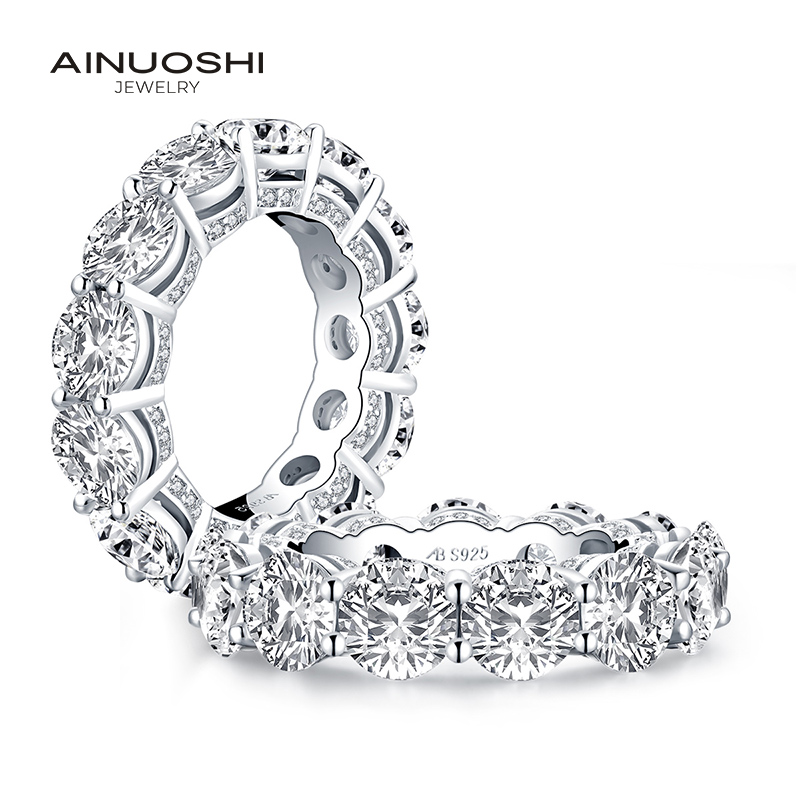 AINUOSHI Luxury 925 Sterling Silver Band Rings Women Engagement Simulated Diamond Wedding Silver Bridal Full Eternity Rings Gift