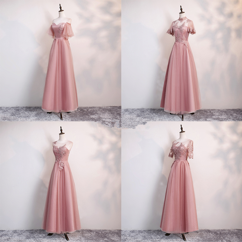 Beauty Emily O Neck Lace Appliques Bridesmaid Dresses Short Sleeve Pink Long Dress For Wedding Party Beads Lace Up Back Vestido