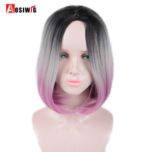 AOSI Two Tones Ombre Gray Pink Wig 14 Short Silky Straight Synthetic Hair Wig for Women Heat Resistant Bob Afircan American adiors short silky straight inclined bang synthetic wig