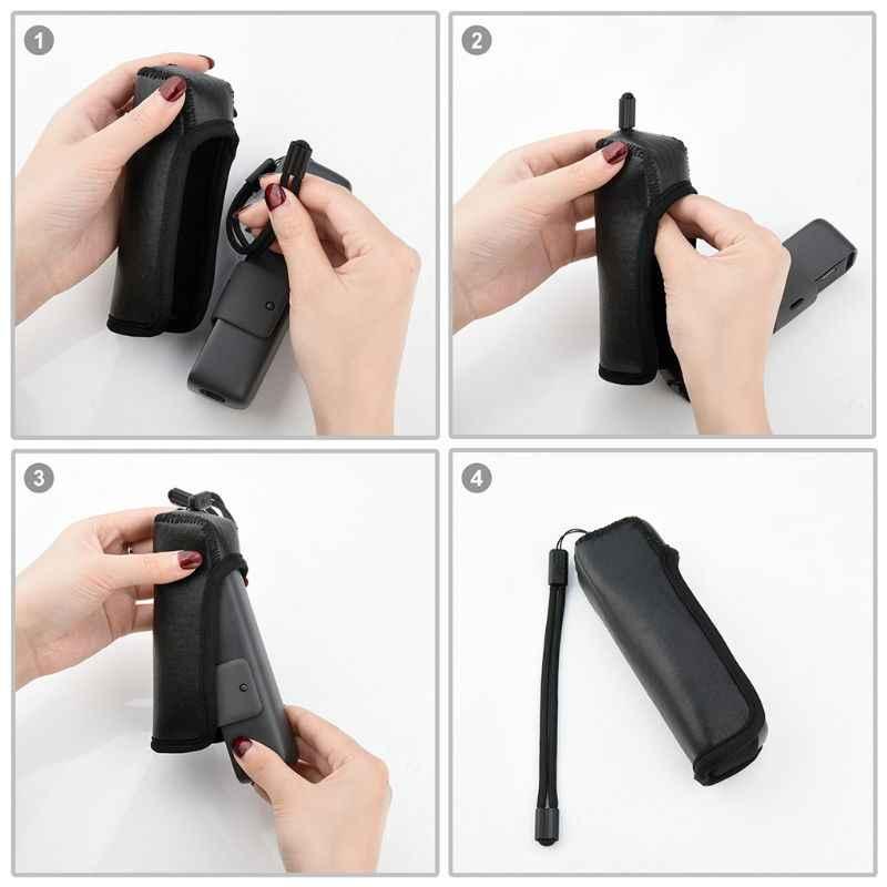 Funda protectora de cuero PU antiarañazos con correa para el cuello y la muñeca para cámara cardán de bolsillo DJI Osmo
