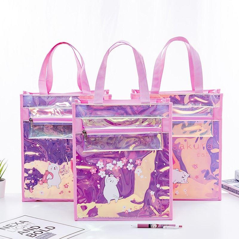 Sharkbang Sakura Cat Tutorial Bags A4 File Folder Bag Desk Document Paper Organizer Storage Hansbag School Office Stationery