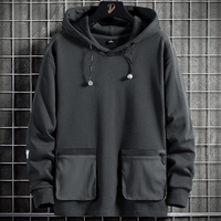 Spring Autumn Multi-Pockets Oversized Hoodie Men Streetwear Adjustable Hooded Hip Hop Sweatshirts Male Pullover Tops Clothes 8XL