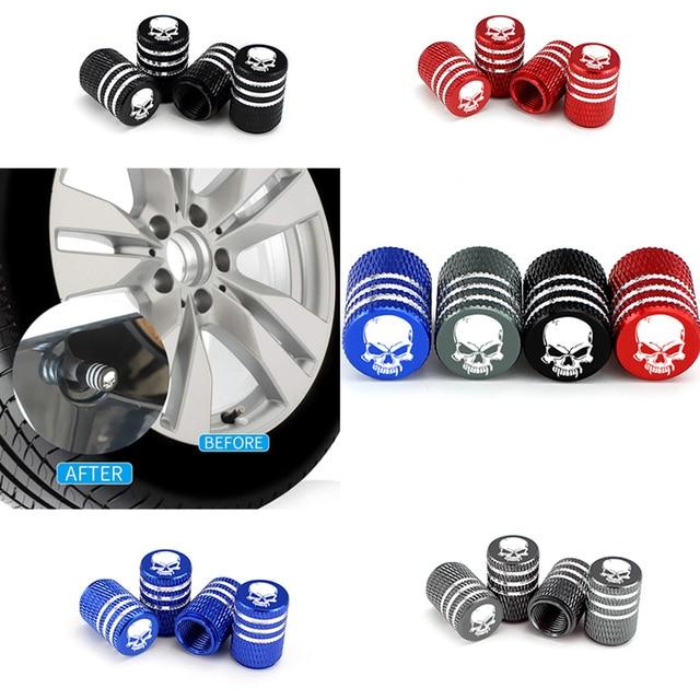 4Pcs/Set Car Tire Valve Stems Cap Knurling Style Skull Tire Valve Cap Aluminum Tire Wheel Stem Air Valve Caps Dustproof Caps 3