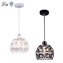 E27 LED Pendant Lights Nordic Modern Crystal Iron Art Hanging Lamp Kitchen Lighting Living Room Decor Fixtures House Decoration