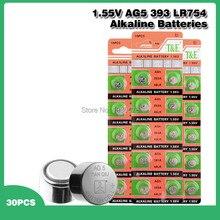 30 baterias alcalinas 1.55 sr754 393 393a 48lr g5a ag 5 do botão da bateria 193 v ag5 lr754 da moeda da pilha dos pces para brinquedos do relógio