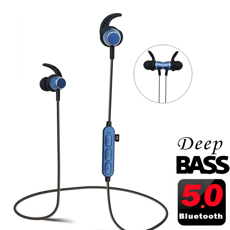 5 0 Bluetooth Earphone Sport Headphones Wireless Headset Noise Canceling Mp3 Player Magentic Metal Deep Bass Stereo earbud W Mic
