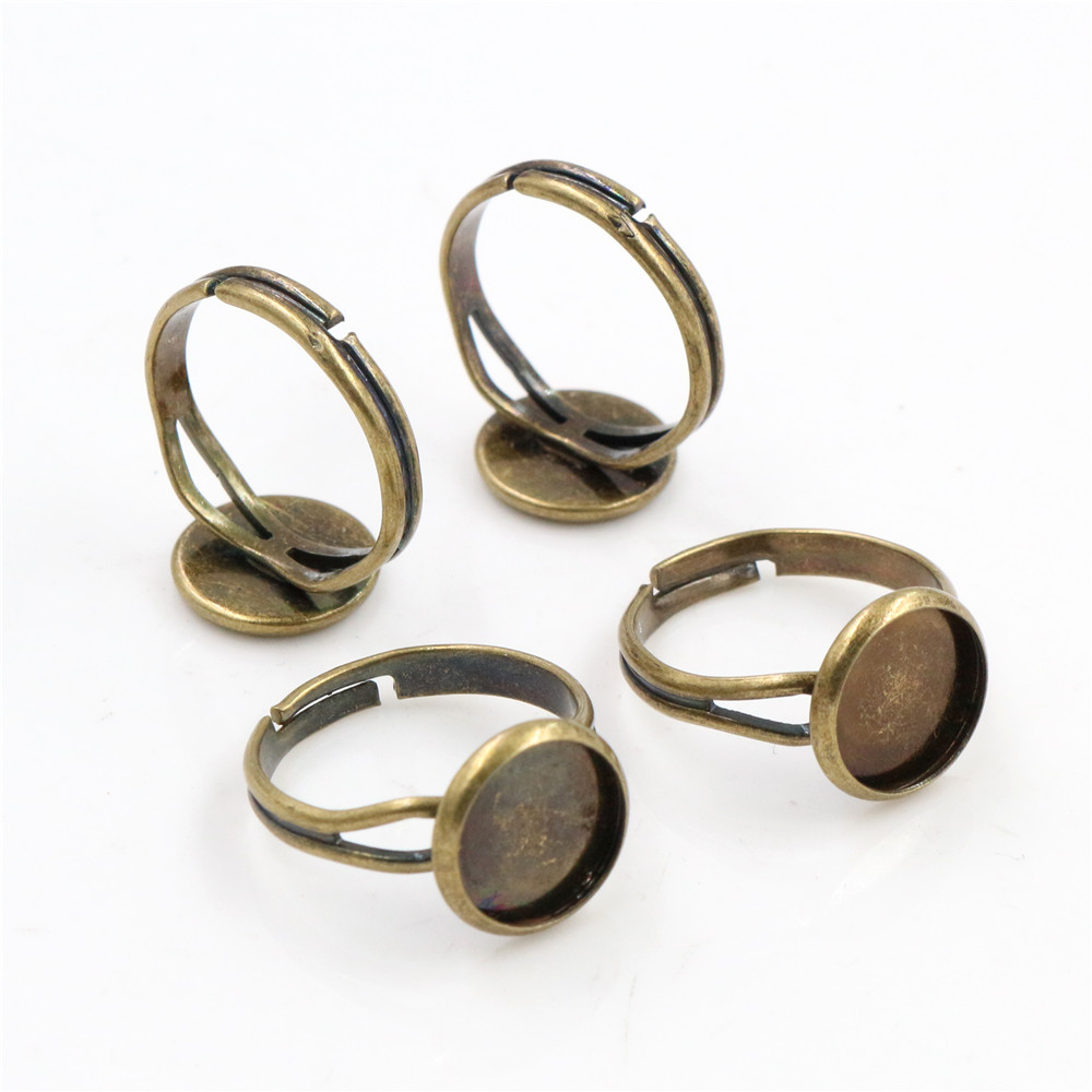 10mm 10pcs Antique Bronze Plated Brass Adjustable Ring Settings Blank/Base,Fit 10mm Glass Cabochons,Buttons;Ring Bezels -K5-27