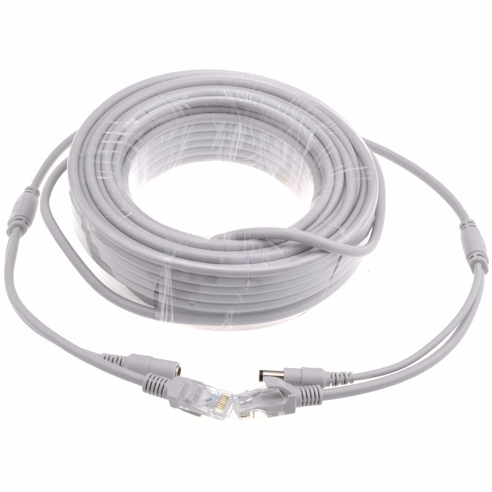 5M/10M/20M CCTV Network Cable RJ45 CAT5/CAT-5e Cable + DC Power Extension CCTV Network Ethernet Cable For IP Camera NVR System