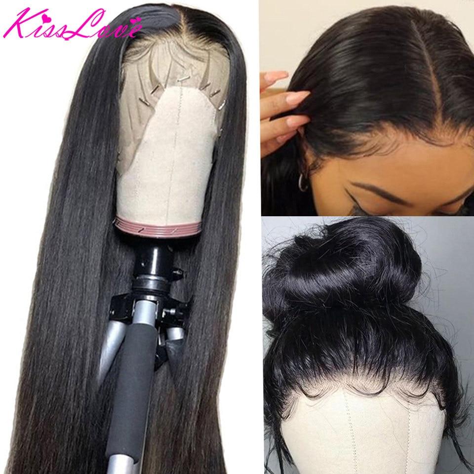 Pelucas de cabello humano Frontal de encaje 13x6 Pre desplumado 180% densidad brasileña recta 13x4 peluca Frontal de encaje con pelo de bebé Remy KissLove