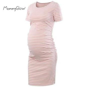 Pregnancy Dress Side Ruched Maternity Clothes Bodycon Dress Striped Casual Short Sleeve Wrap Dresses Womens Clothing Plus Size plus rolled tap sleeve surplice wrap striped top