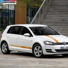 1 sets Car Whole Body Sticker Auto Hood Bonnet Stripes Door Side Skirt Decals For Volkswagen Golf MK4 5 6 7 8 GTD GTI RLINE TSI