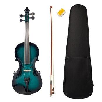 NAOMI Acoustic Violin 4/4 Violin Acoustic Violin Fiddle + Case + Bow + Rosin Blue Black Violin