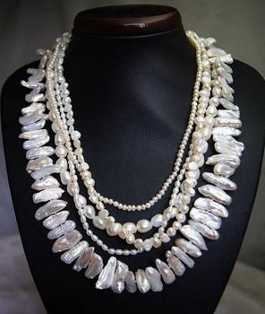Unique Pearls jewellery Store 5 rows White Baroque Genuine Freshwater Pearl Necklace Charming Women Gift Fine Jewelry