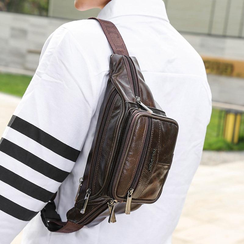 New Model Leisure Fanny Pack Multi Colors Genuine Leather Mini Sling Bag Custom Waist Bag For Men