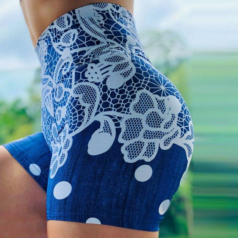 Fashion Printing Print Women Shorts Casual Abstract Flower Print Fitness Short For Lady Women High Waist Casual Biker Short 2020