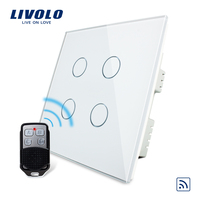 Livolo UK standard 4gang Wireless Remote Touch Switch , AC 220 250V , Crystal Glass Panel, VL C304R 61,no remote controller