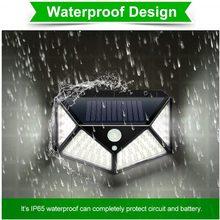 Goodland-Luz solar LED para exteriores, a prueba de agua, con sensor de movimiento PIR, para decoración del jardín, 100 LEDs