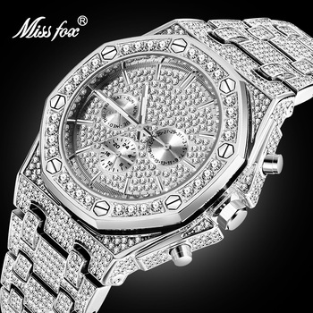 Dropshipping Big Men Watches 2020 Luxury Design Classic Waterproof Silver Bling Watch Stainless Steel Bracelet Wristwatch Clock - discount item  90% OFF Men's Watches