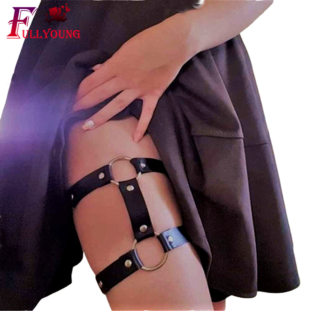 Fullyoung Women Strap With Fashion Erotic Garters Faux Leather Leg Ring With Suspenders Straps PU Leather Harness Leg Bondage