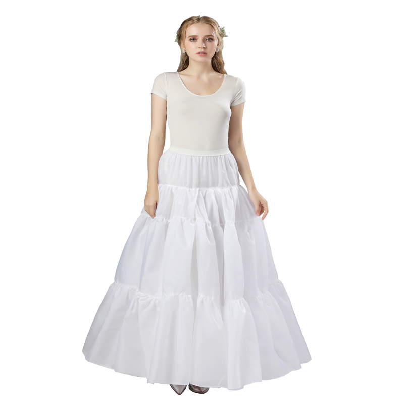 In Stock White Long Style Petticoat Nylon Organza Halloween Real Photos Fast Shipping Tutu Wedding Cosplay Underskirt Slip 12006
