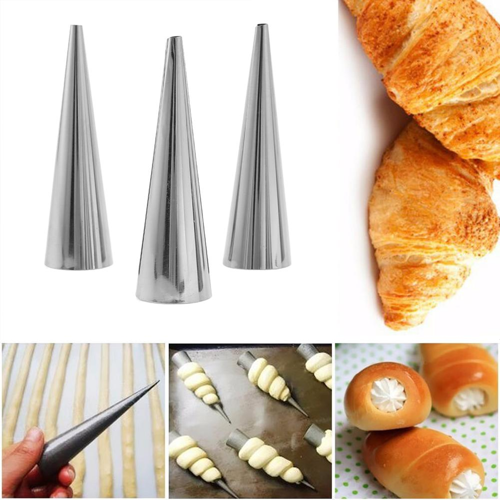 5pcs//lot Stainless Steel Cake Bread Mold Spiral Croissant Tubes Baking Cones New