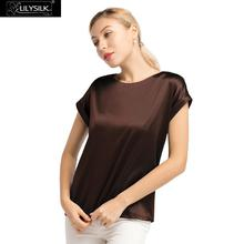 LilySilk Silk Tee Short Sleeves Round Neck Women Free Shipping