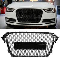 For RS4 Style Front Sport Hex Mesh Honeycomb Hood Grill Gloss Black for Audi A4/S4 B8.5 2013 2014 2015 2016 auto accessories