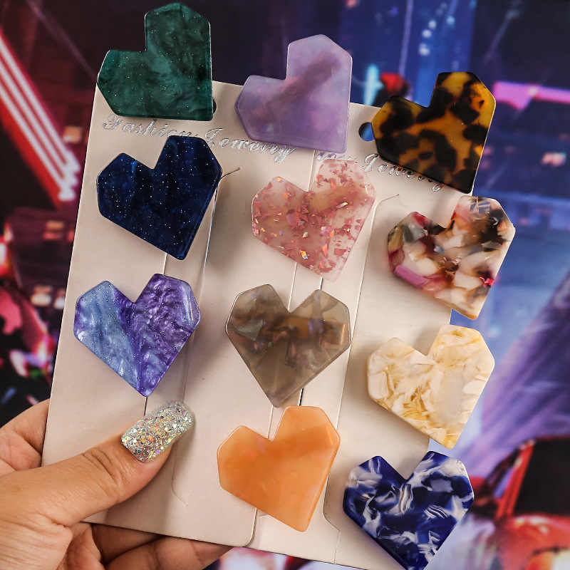 Vintage Arylic Heart Hair Clips For Women Girls Crystal Barrette Stick Geometric Marble Hairpin Leopard Hair Styling Accessories