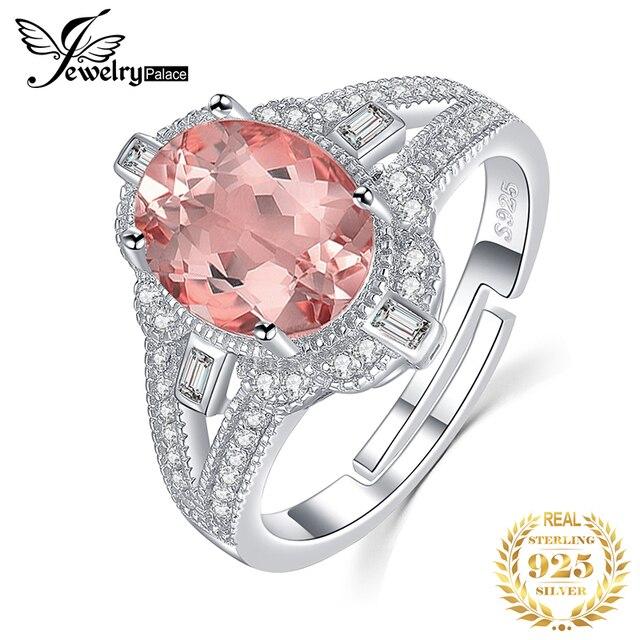 JewelryPalace בציר פיצול Shank 3ct סגלגל נוצר Morganite ספיר מתכוונן להרחיב טבעת 925 כסף סטרלינג תכשיטי ביצוע