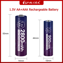 PALO New AA battery 2800mwh Rechargeable battery li ion 1.5 V AA+AAA 1.5V lithium rechargeable battery 900mwh