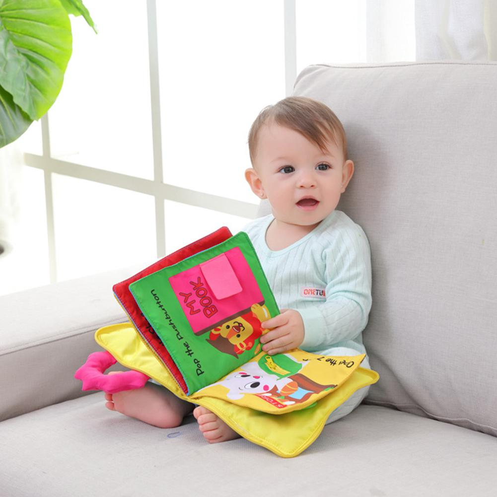 Kuulee Baby Cloth Book Infant Early Learning Toy Tear Resistant Breakproof 3D Book Cartoon Design With Goodnight Bear Bride Girl