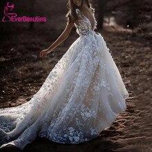 Sexy Bohemian Wedding Dress Short Sleeves Deep V Neck Floral Appliques Bridal Gowns Backless Vestido De Noiva 2020 Bride Dress short sleeves v collo day dress