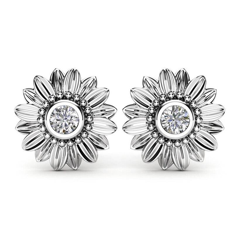 Huitan Sunflower Stud Earrings For Girl New Trendy Romantic Design Birthday New Year Gift For Women Crystal Stone Earrngs Hot